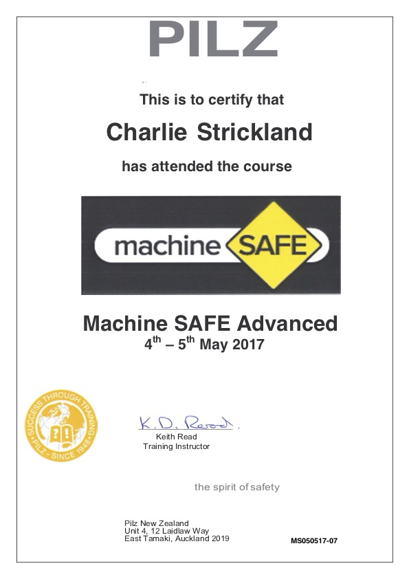 Machine SAFE Advanced Certificate - Hazard Management Systems